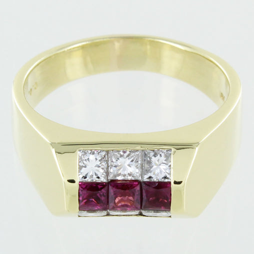 GENTS 18KT DIAMOND RUBY RING SIZE 10.5
