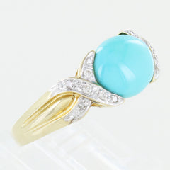 LADIES DIAMOND & TURQUOISE STONE RING SIZE 9