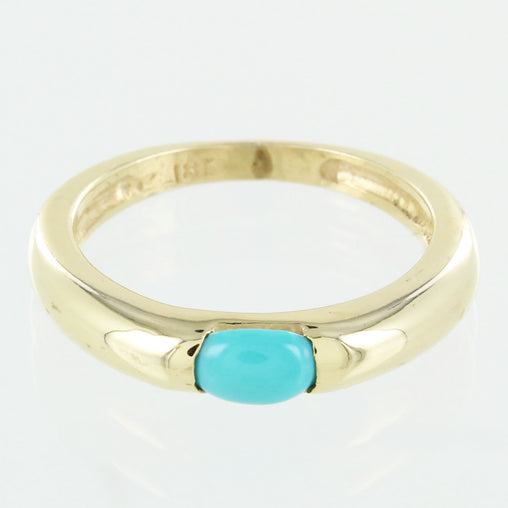 LADIES 18KT YELLOW GOLD WITH TURQUOISE STONE RING SIZE 6