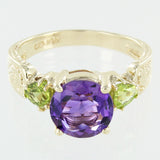 LADIES 10 KT GOLD AMETHYST & PERIDOT RING SIZE 8.5