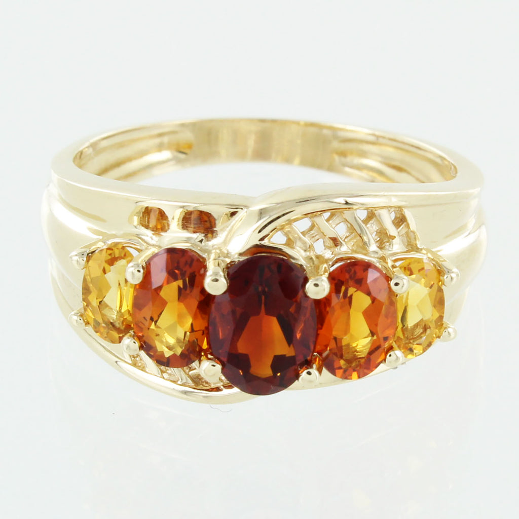LADIES 14KT GOLD GARNET & CITRINE RING SIZE 9