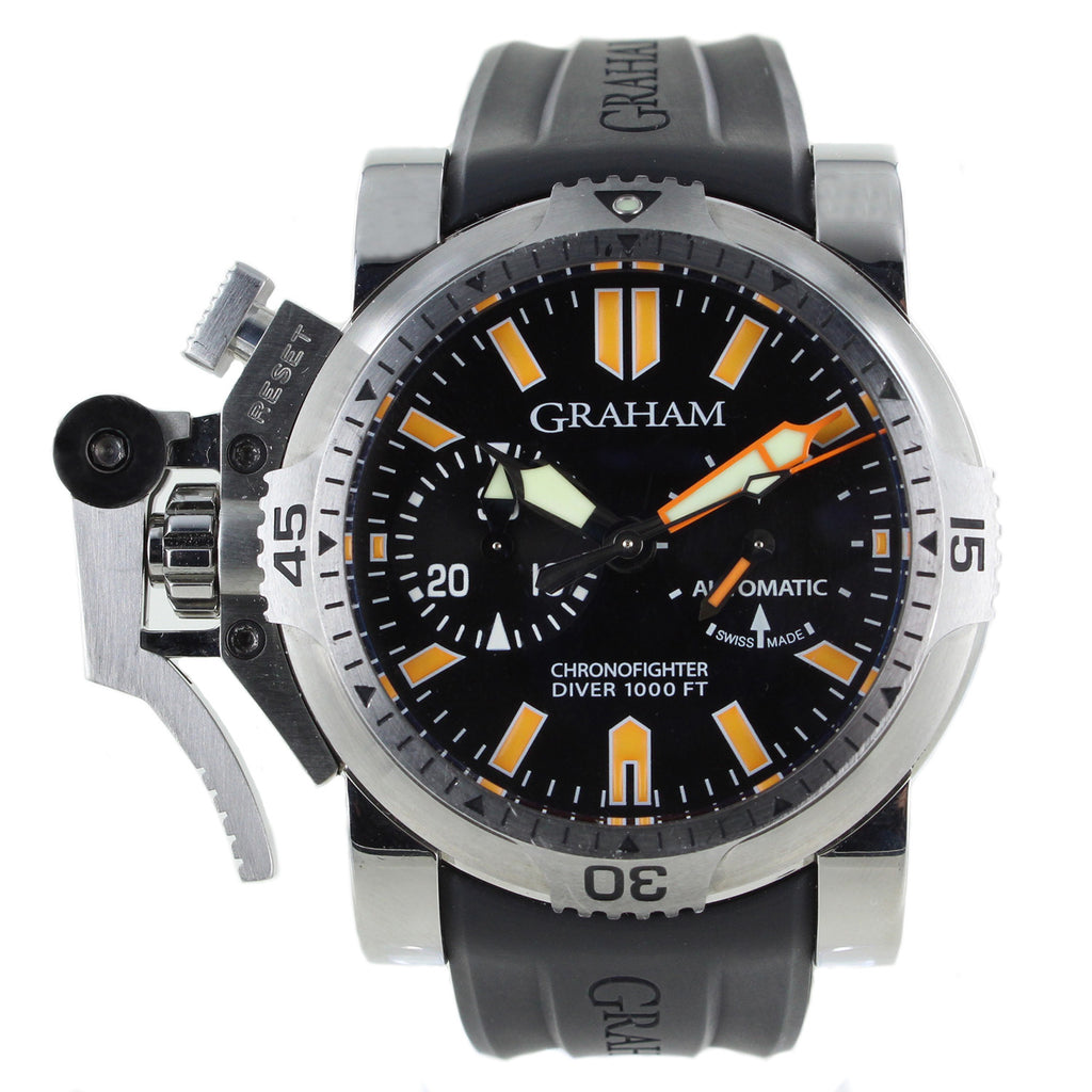 GRAHAM CHRONOFIGHTER OVERSIZE STEEL DIVER RUBBER MENS WATCH