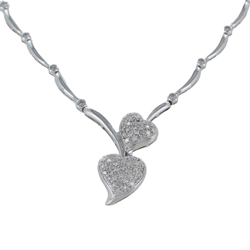 DIAMOND HEARTS NECKLACE 14KT WHITE GOLD