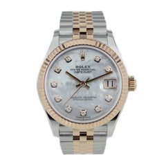 ROLEX DATEJUST MOTHER OF PEARL DIAMOND DIAL 31MM WATCH