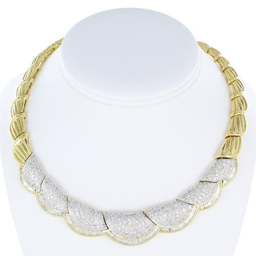 LADIES 18KT YELLOW & WHITE GOLD EXQUISITE DIAMOND NECKLACE