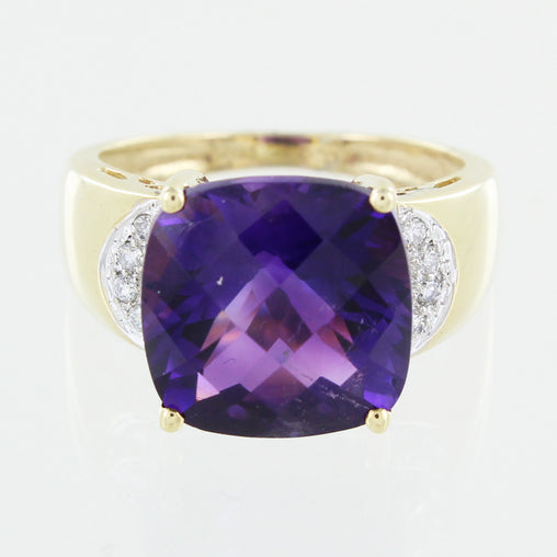 LADIES 14 KT GENUINE FACETED CUSHION CUT AMETHYST & DIAMOND RING SIZE 6.5