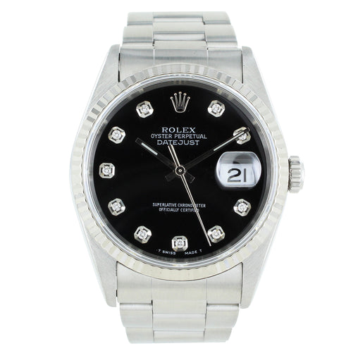 ROLEX DATEJUST 16200 DIAMOND BLACK DIAL WITH A GOLD FLUTED BEZEL