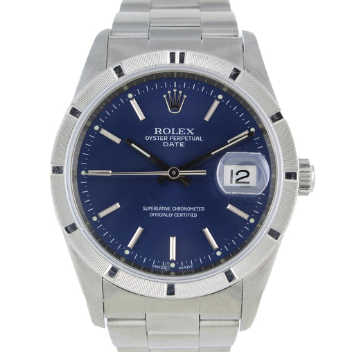 ROLEX DATE 15210 34MM STAINLESS STEEL BLUE DIAL BOX & PAPERS