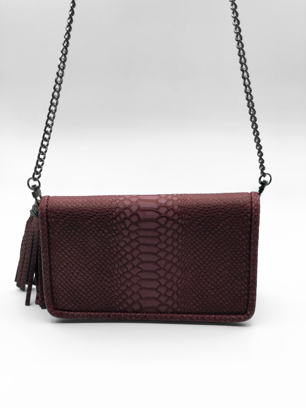 Kourtney Burgundy Crocodile Bag