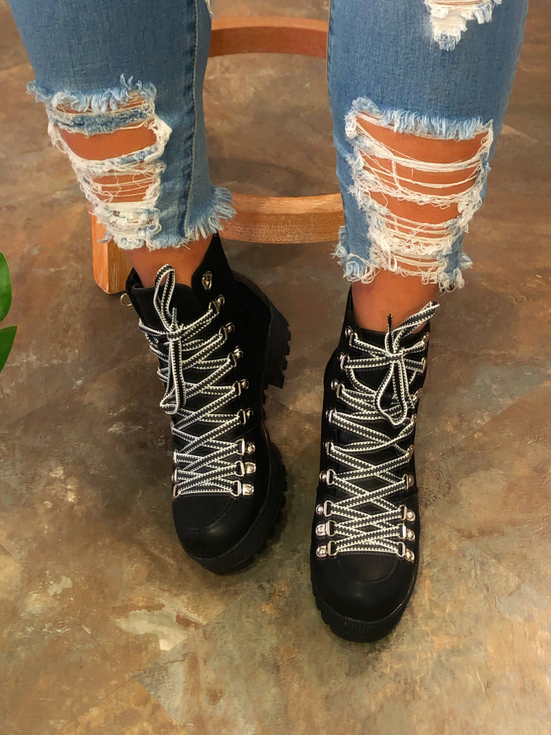 Elle Lace-up Booties - Black