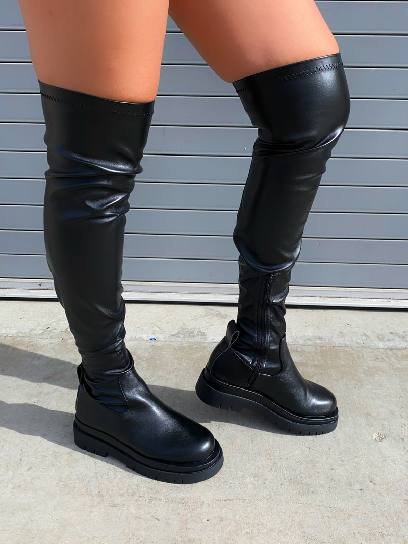 Maci Thigh High Boots-Black