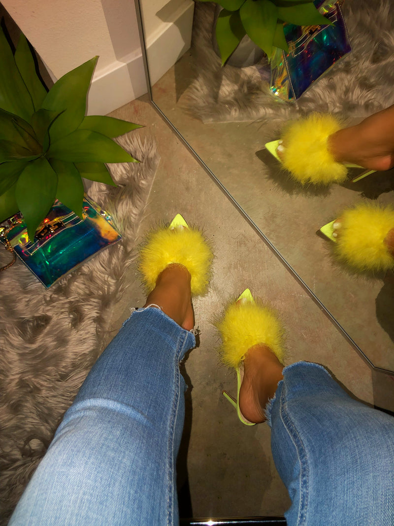 Layla  Heels - Feather Neon Yellow