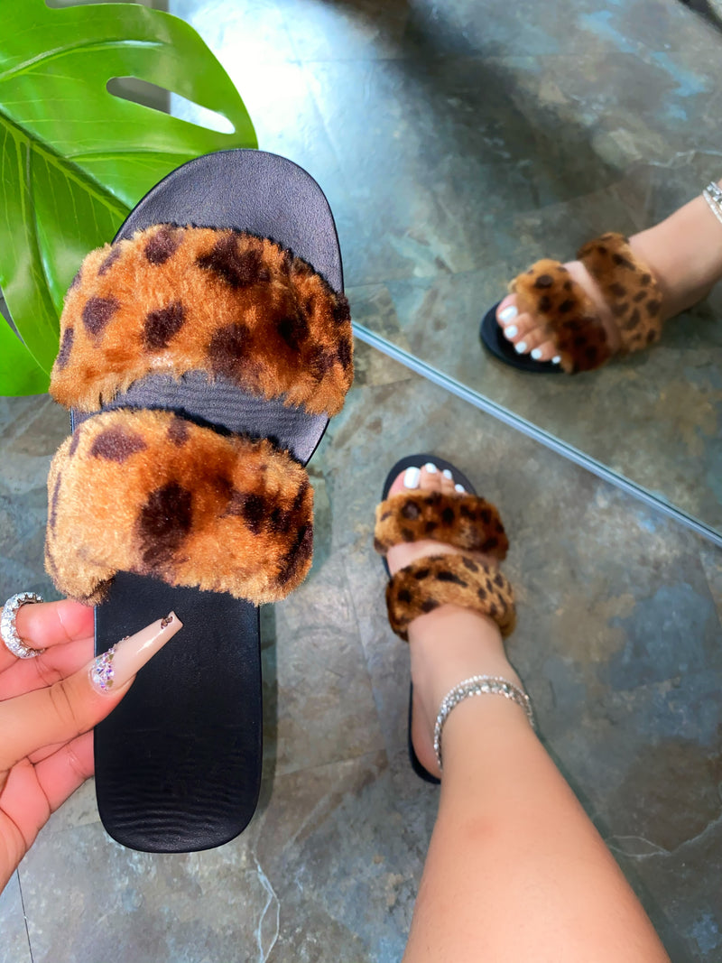 Lilenna Double Fluffy Slides - Leopard