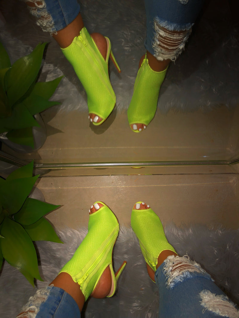 Pennie Open Toe Booties - Lime Yellow