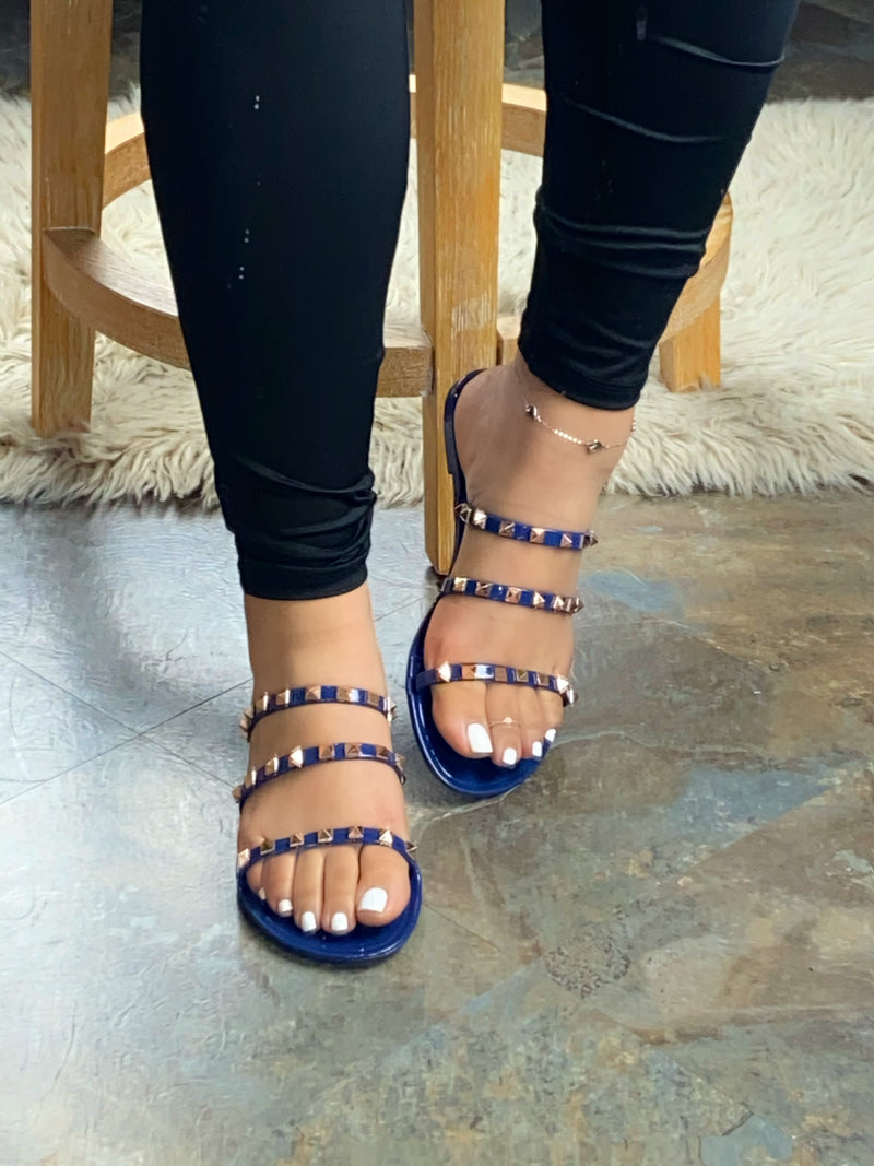 Heather Jelly Sandals - Navy Blue