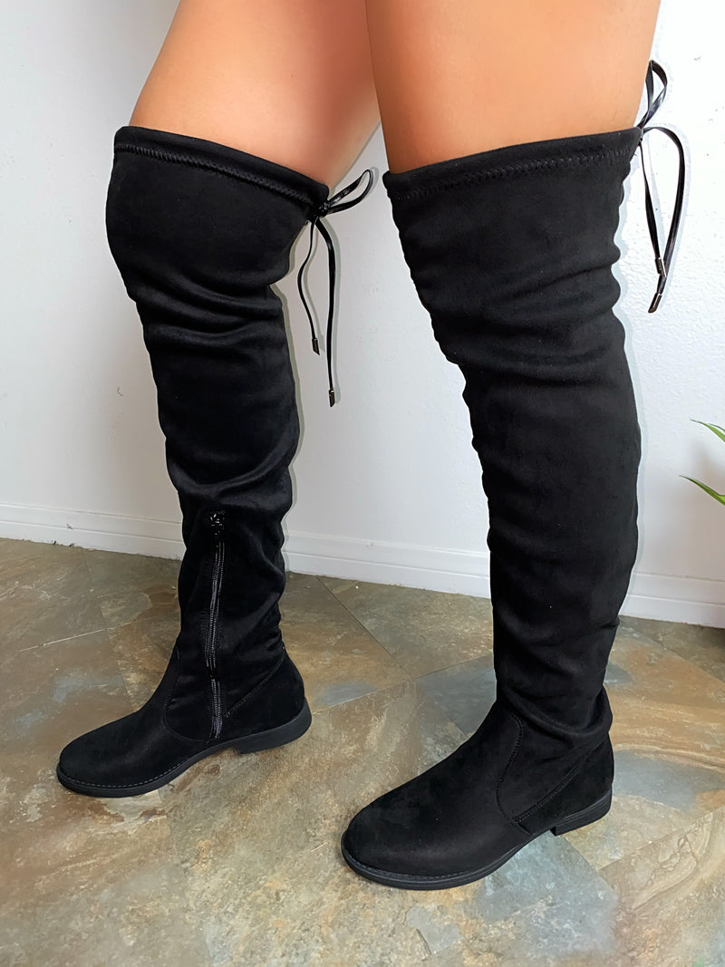 Branson Thigh High Boots-Black