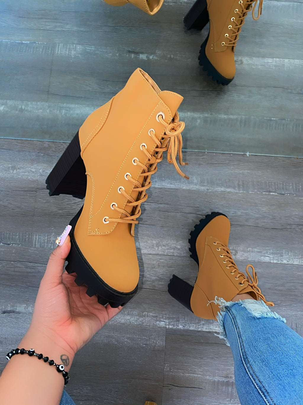 Payton Lace Up Booties- Honey