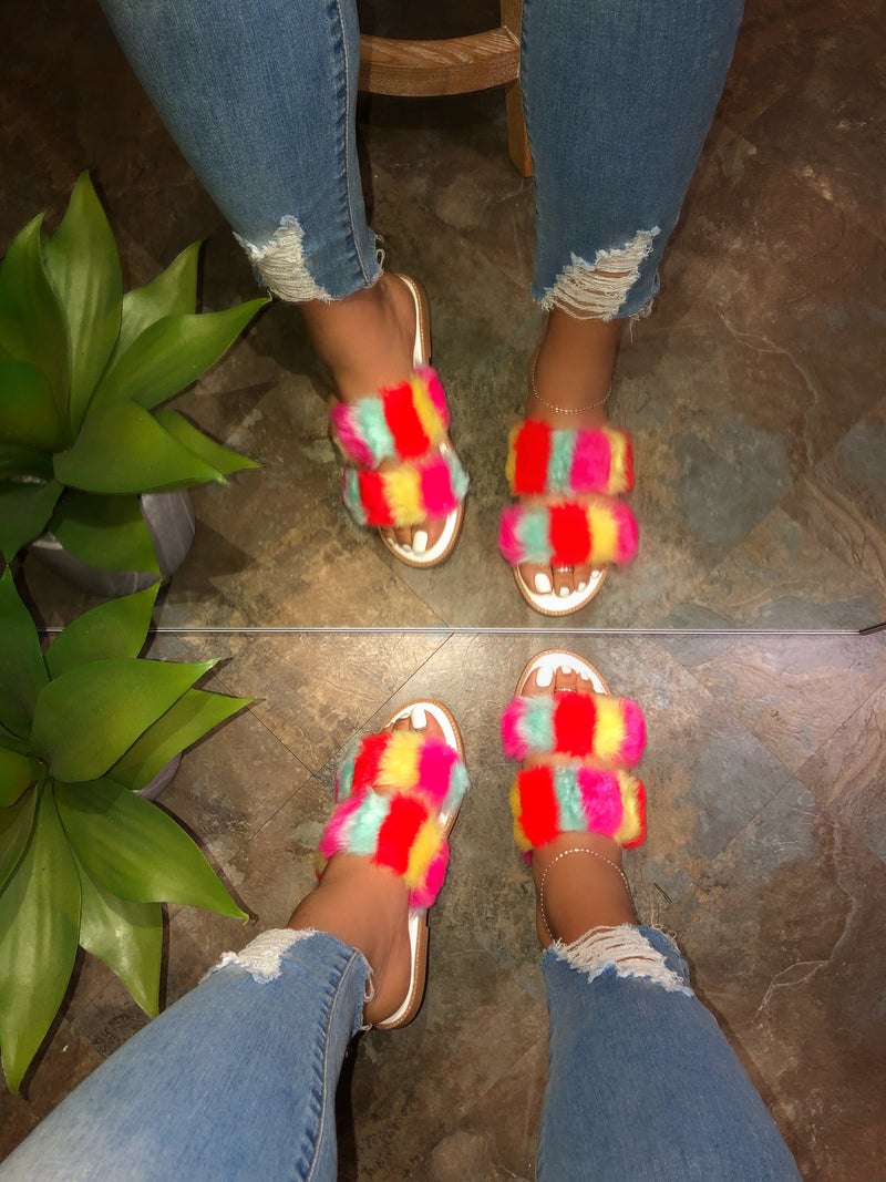 Cammy Fur Sandal - Rainbow