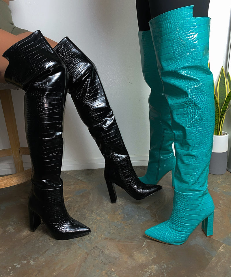 Brooklyn Thigh High Boots- Turqoise Crocodile