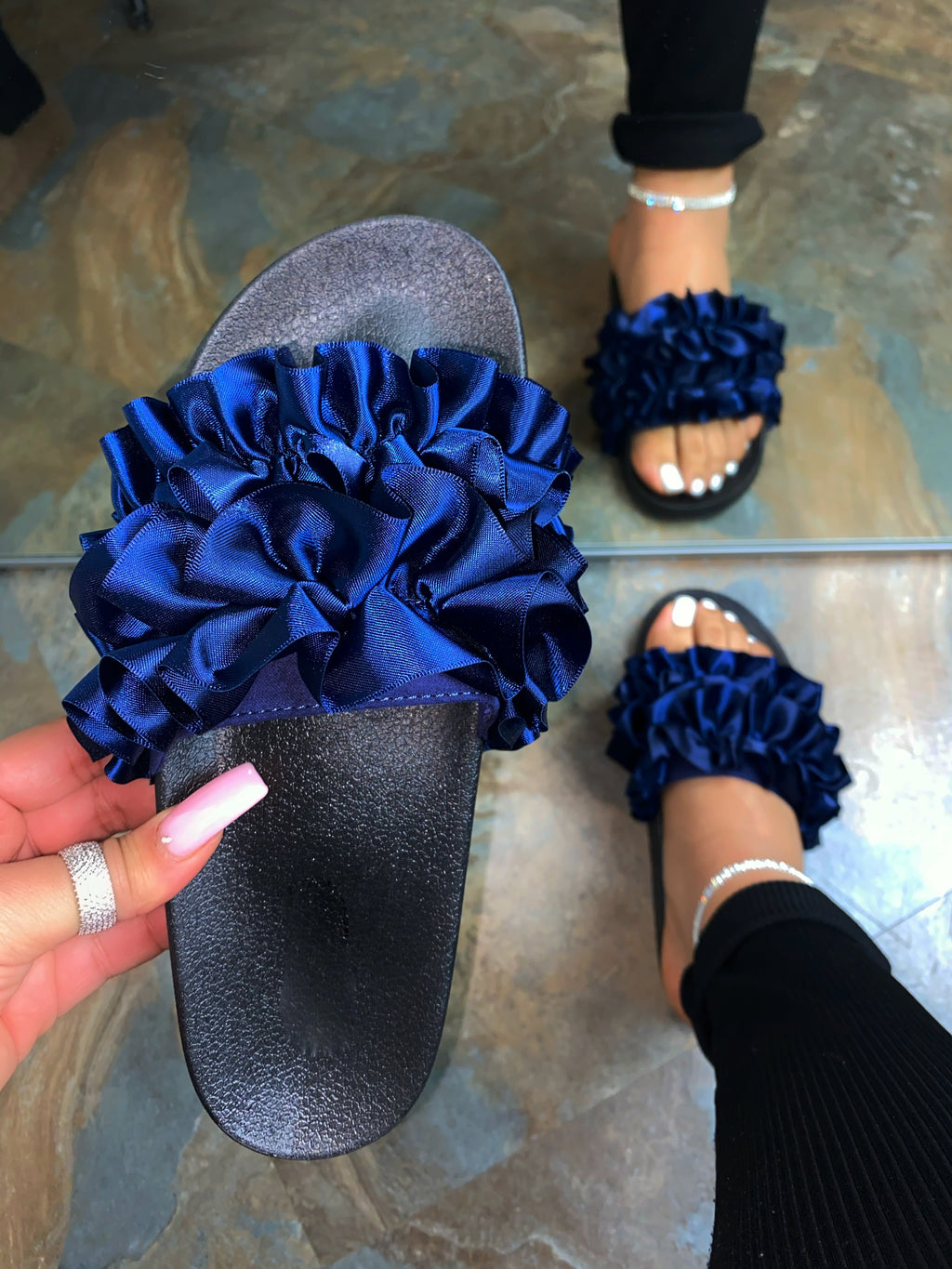 Jolene Sandals-Navy