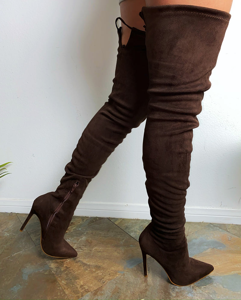 Robin Thigh High Boots - Chocolate