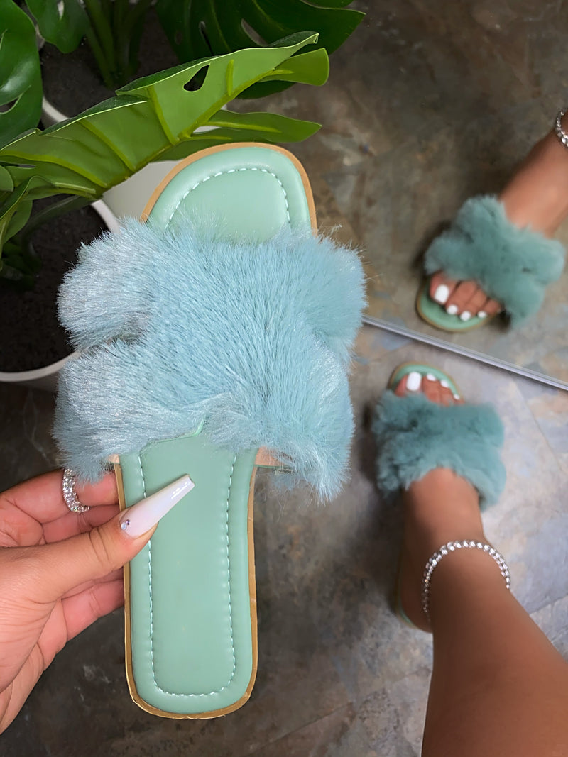 Ellie Fur Sandals- Mint