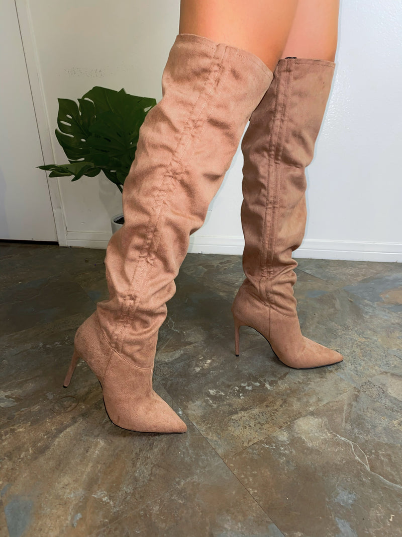 Logan Thigh High Boots- Taupe