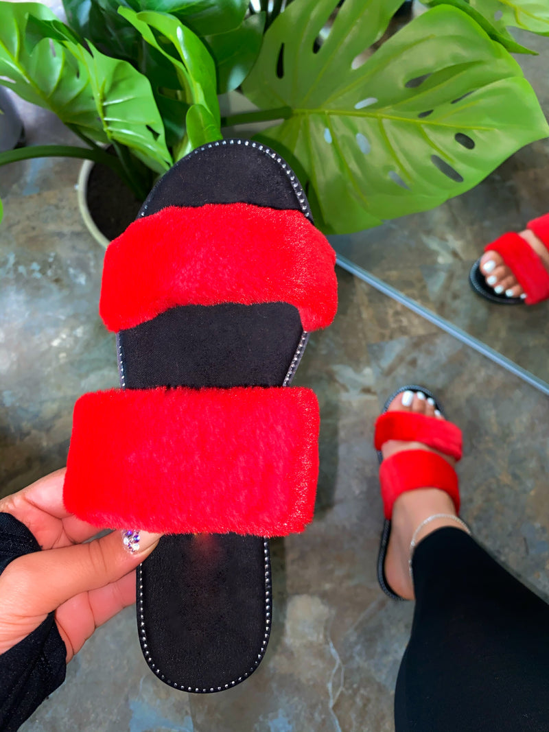 Cammy Fur Sandal - Red