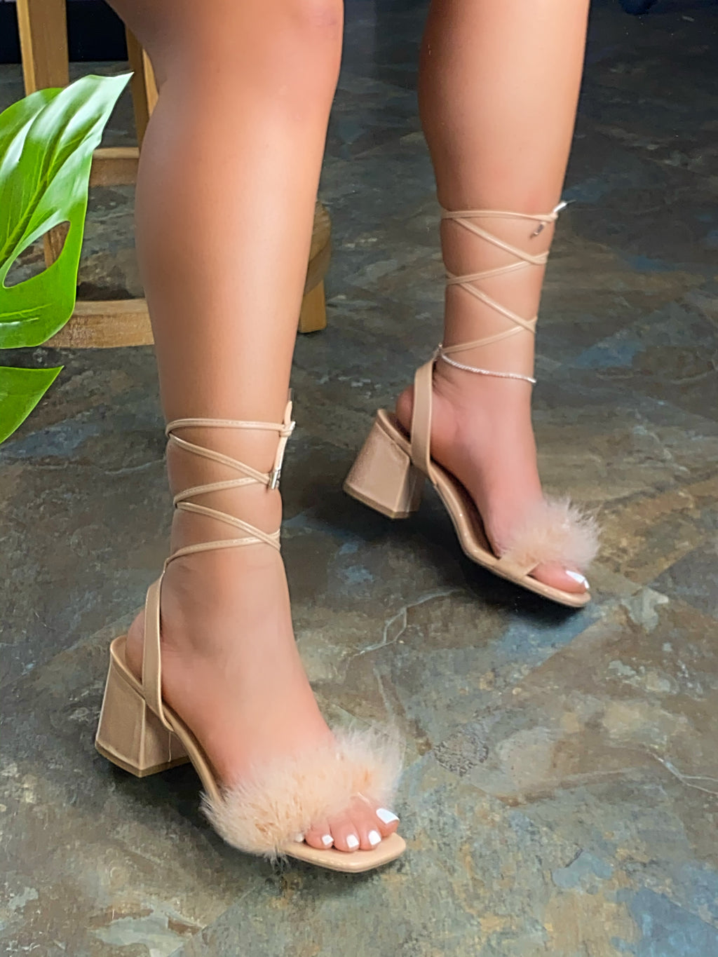Angela Fur Platforms Heels - Nude