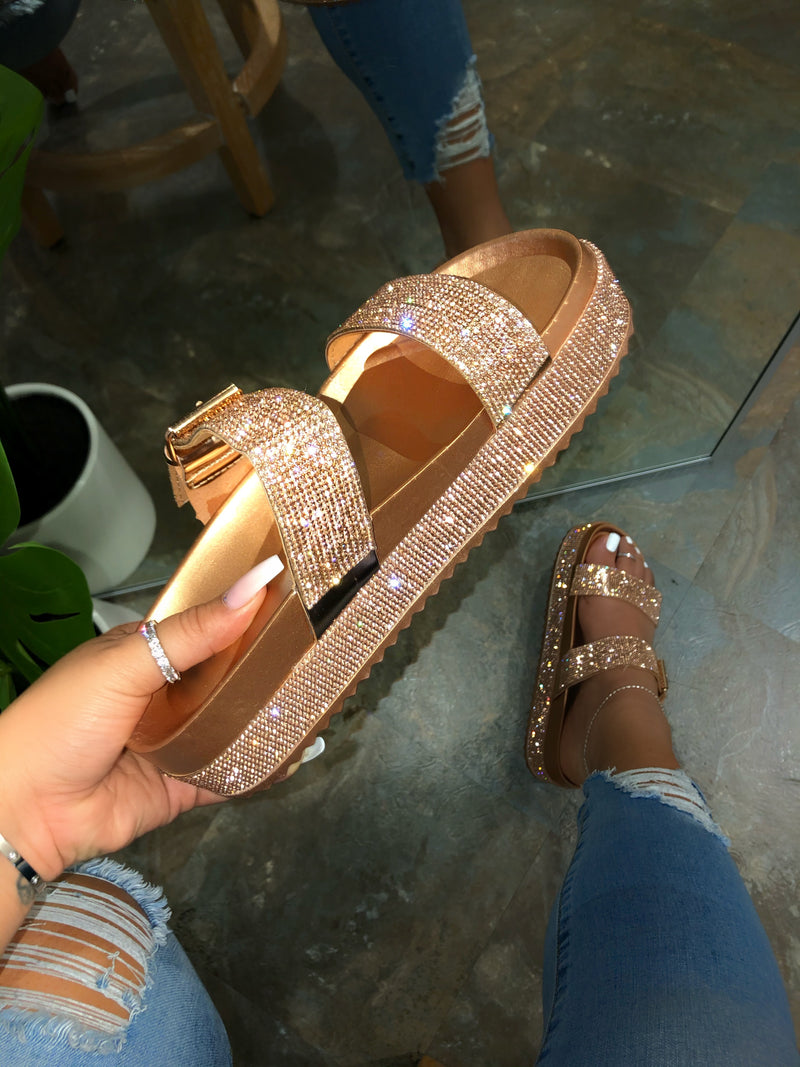 Natti Rhinestone Platform Sandals - Rose Gold