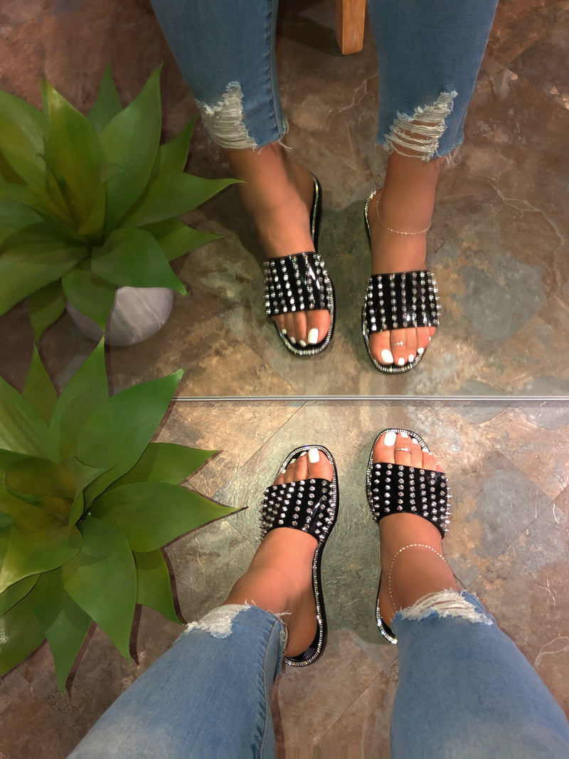 Gissela Jelly Sandals- Black Spikes
