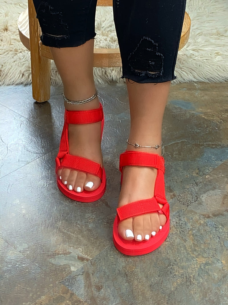 Reese Velcro Sandals - Red