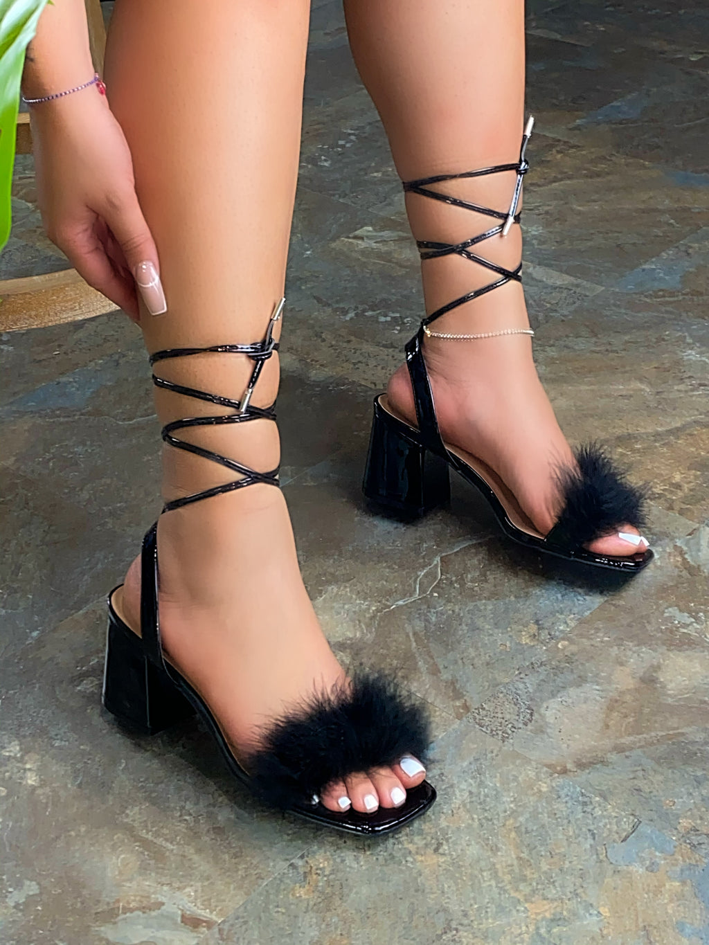 Angela Fur Platforms Heels - Black