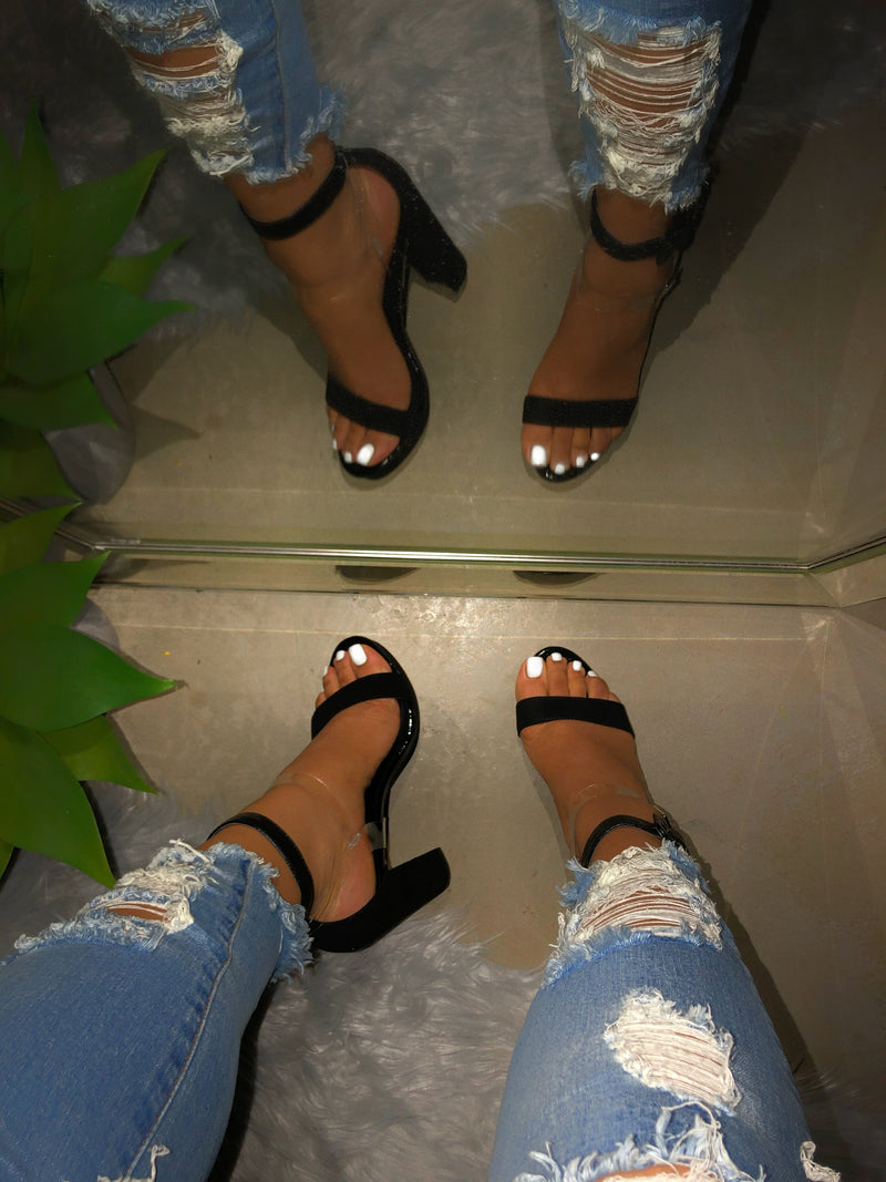 Giselle Heels - Black / Clear
