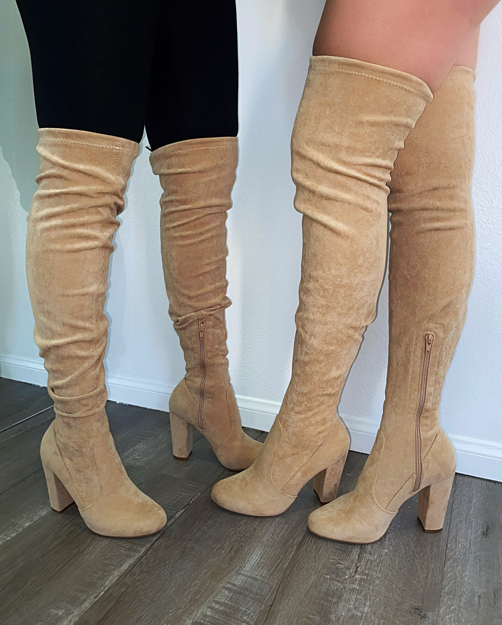 Jaxon Thigh High Boots- Taupe