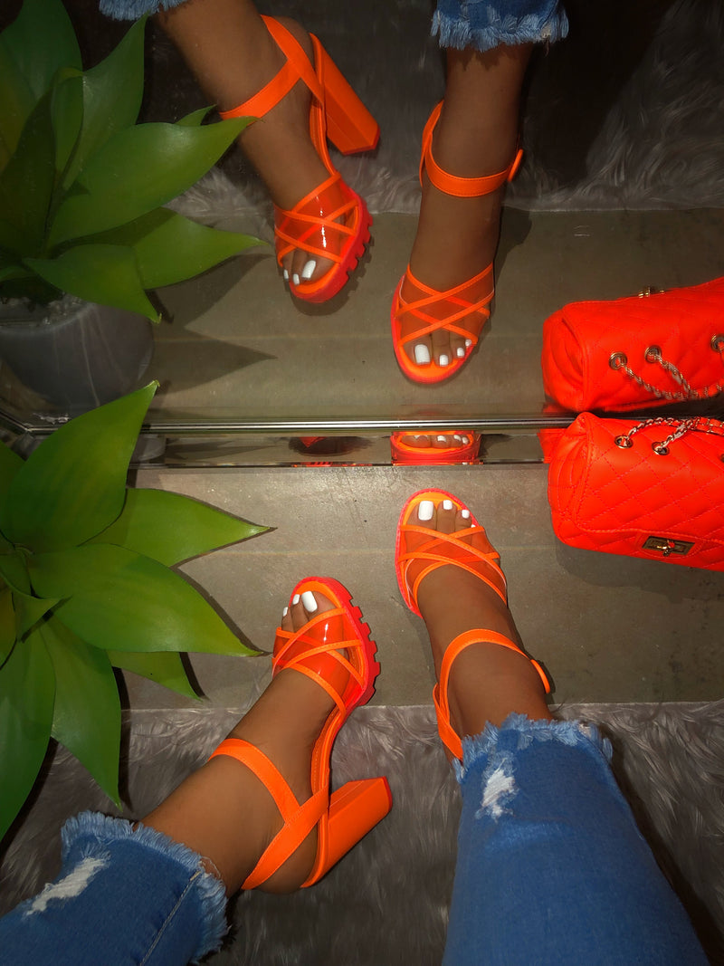 Faith Open Toe Heels - Neon Orange