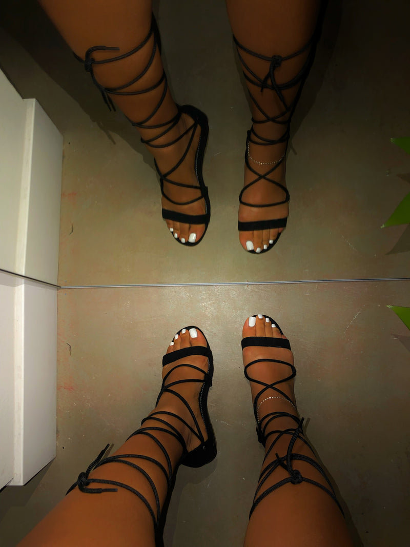 Indra Lace Up Sandals - Black