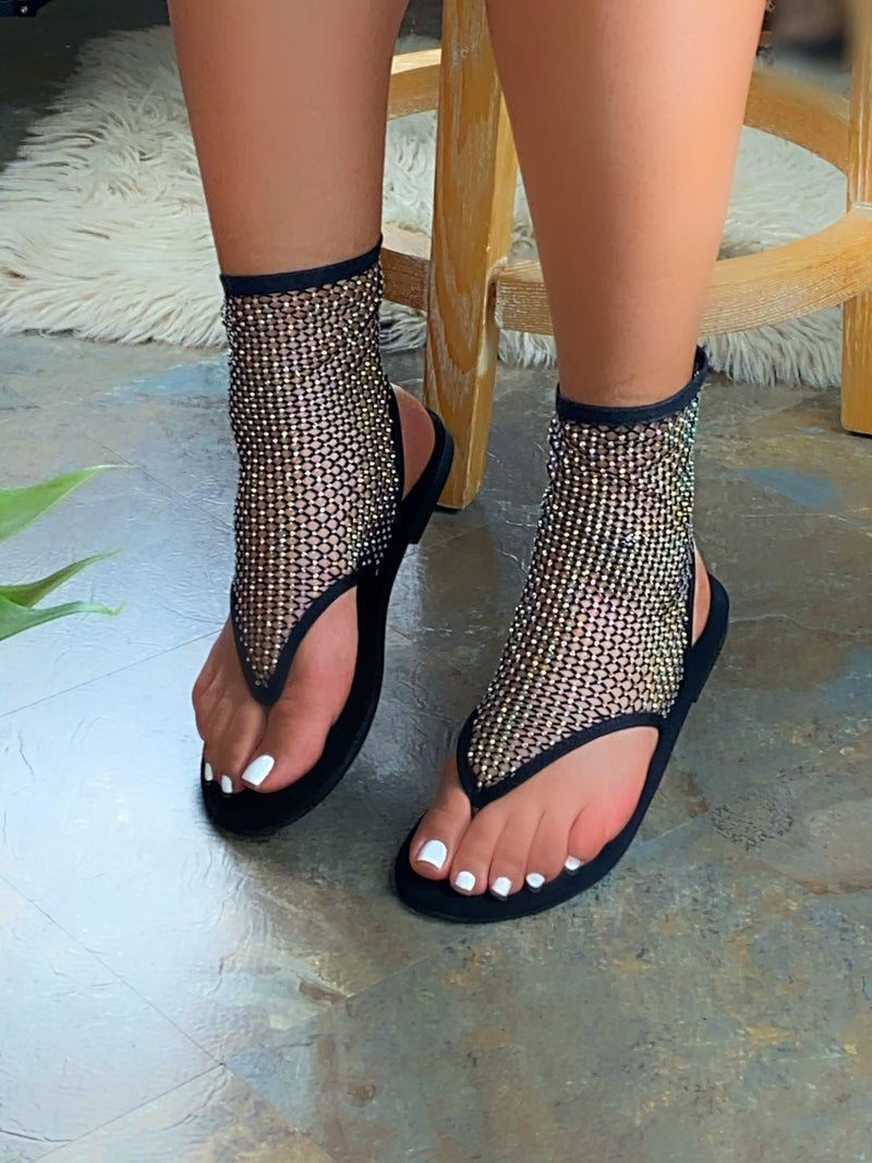 Stefanie Fishnet Sandals - Black