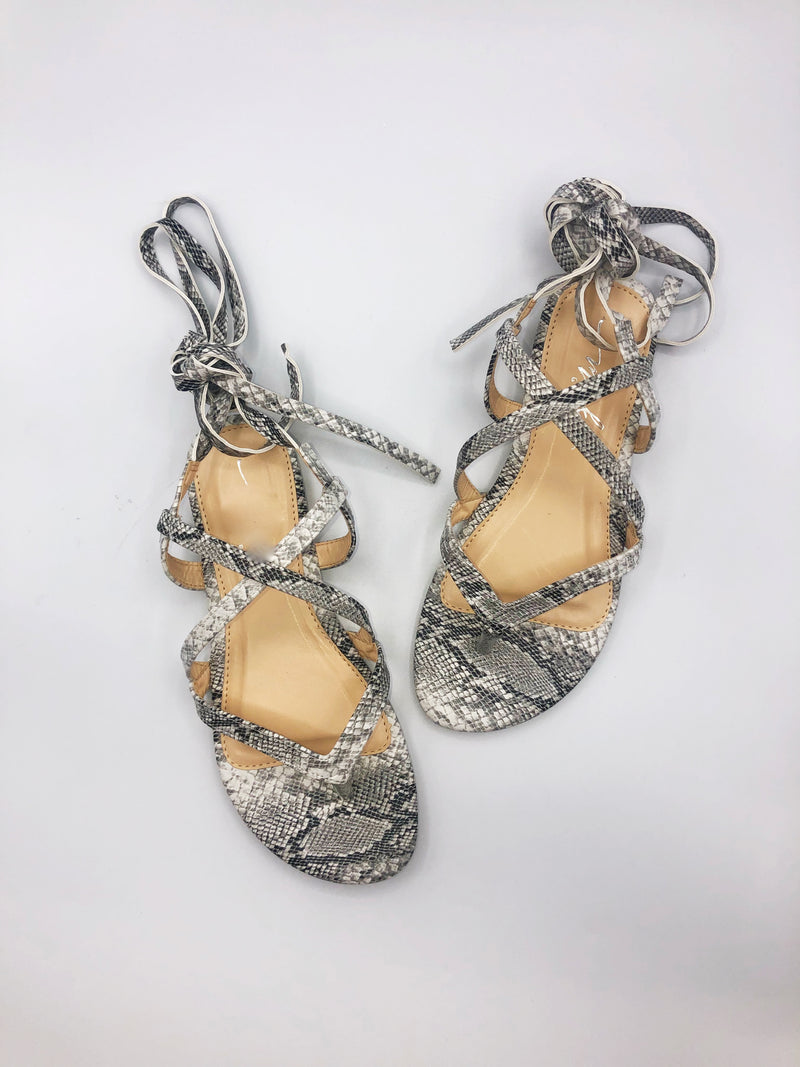 Evelyn Lace Up Snake Sandal