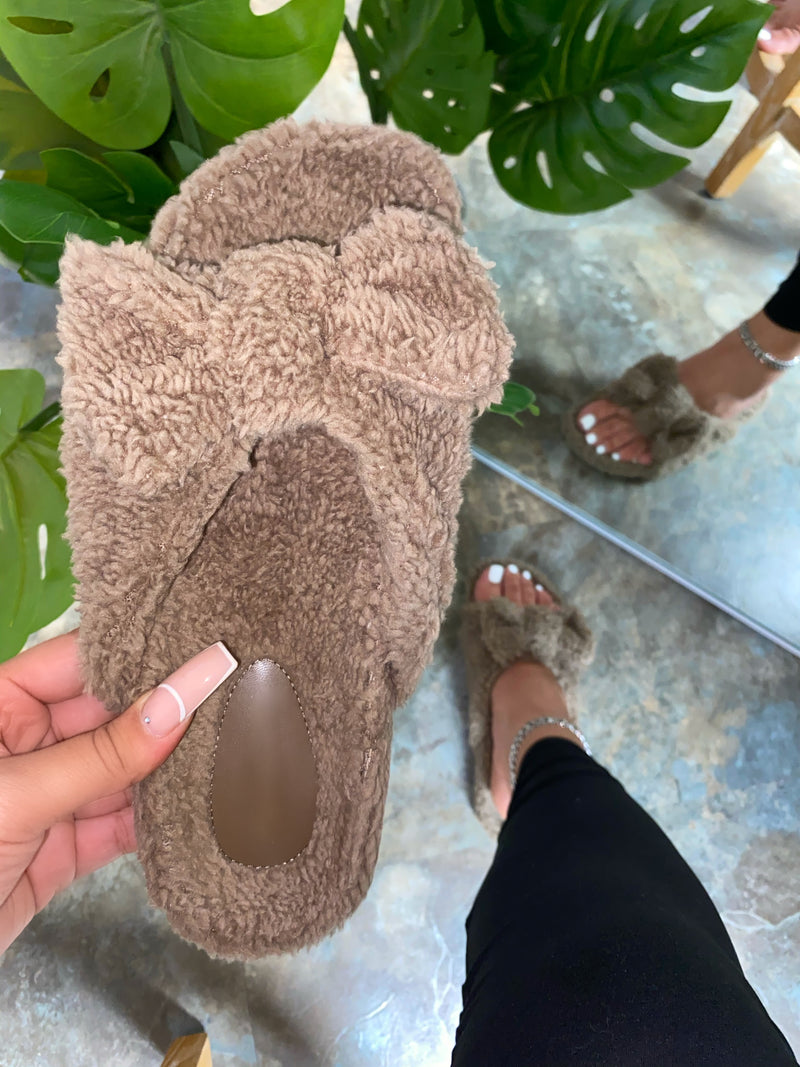 Nelly Bow Slipper - Khaki