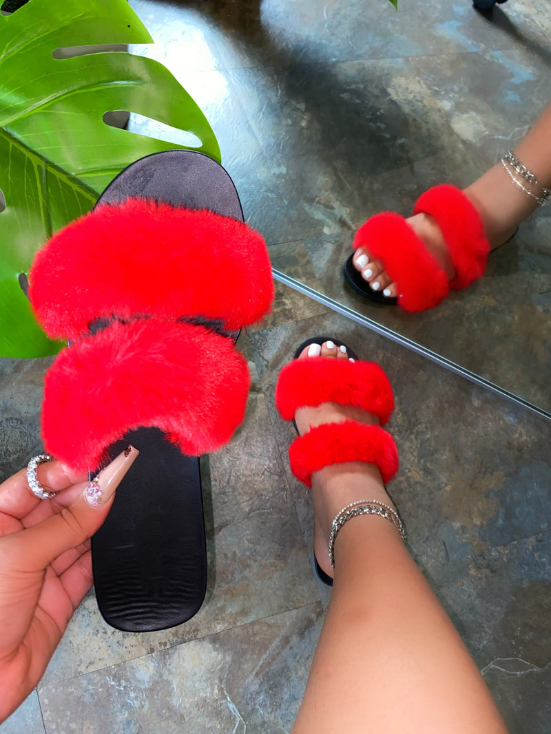 Lilenna Double Fluffy Slides - Red