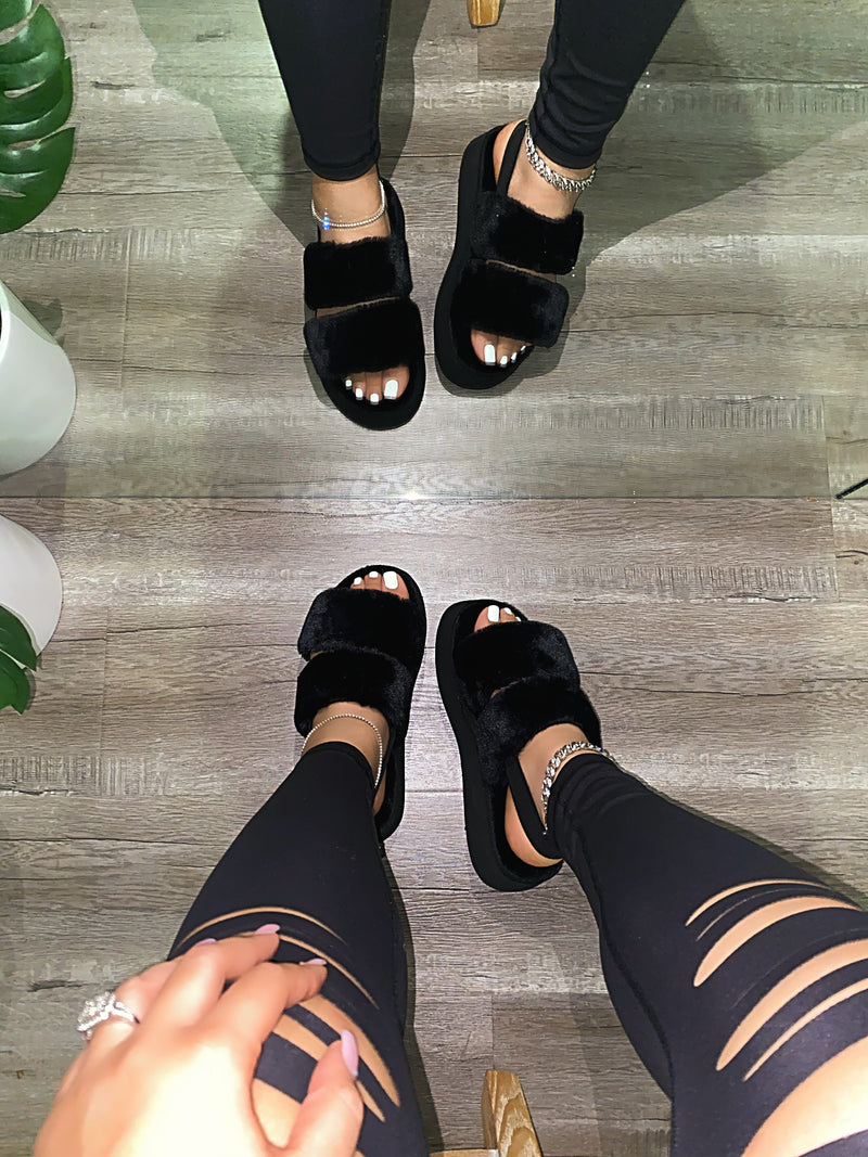 Helen Platform Slippers - Black