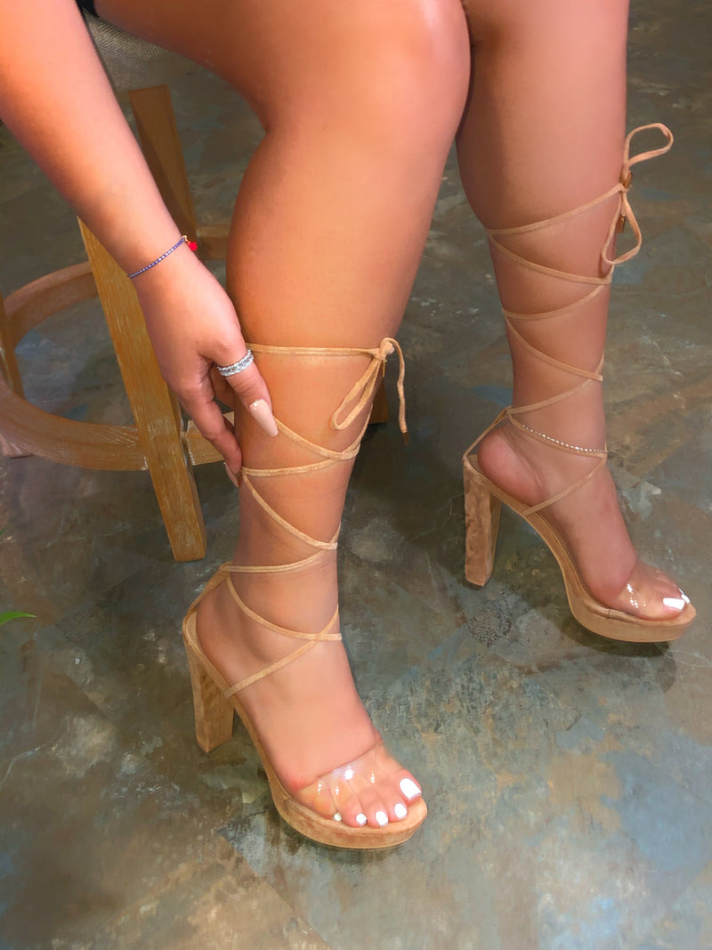 Dior Lace-up Heels - Nude