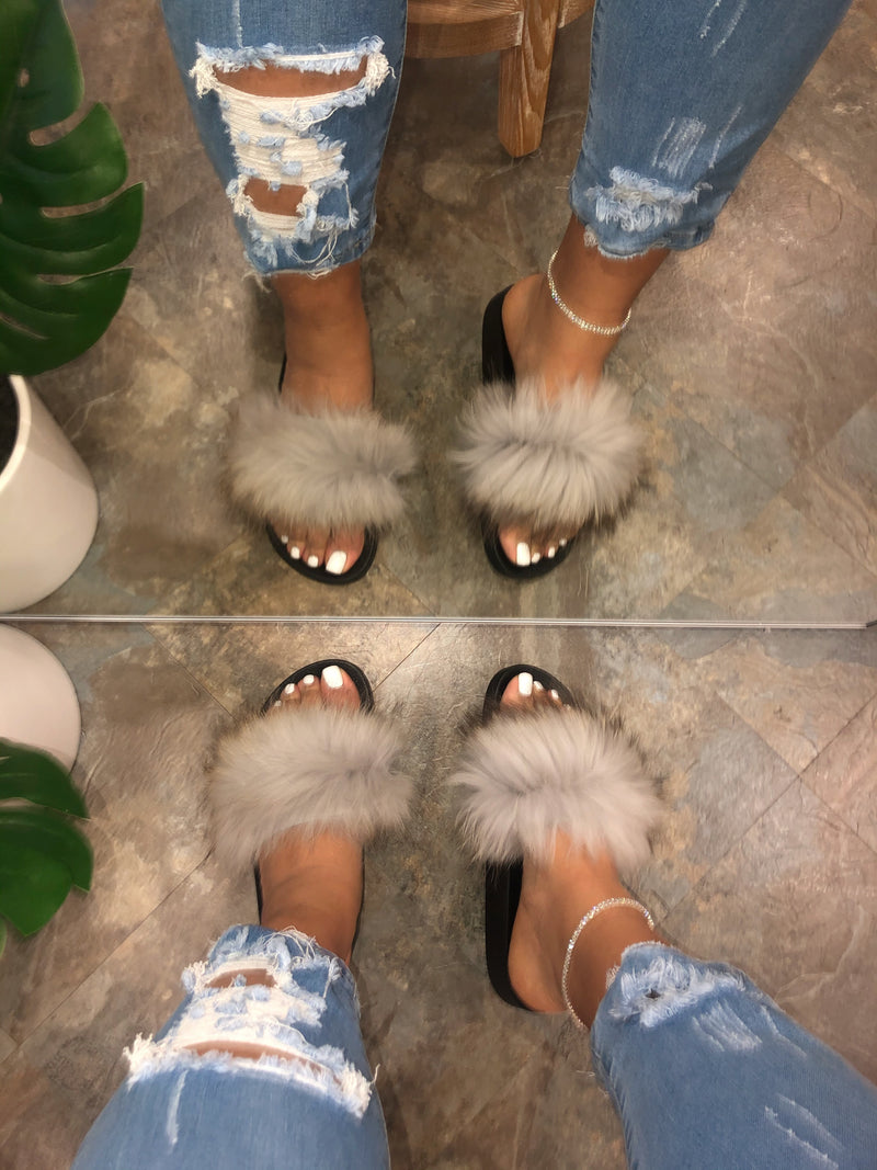 Pattie Fluffy Slides - Grey