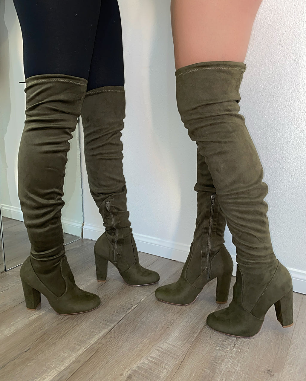 Jaxon Thigh High Boots- Olive