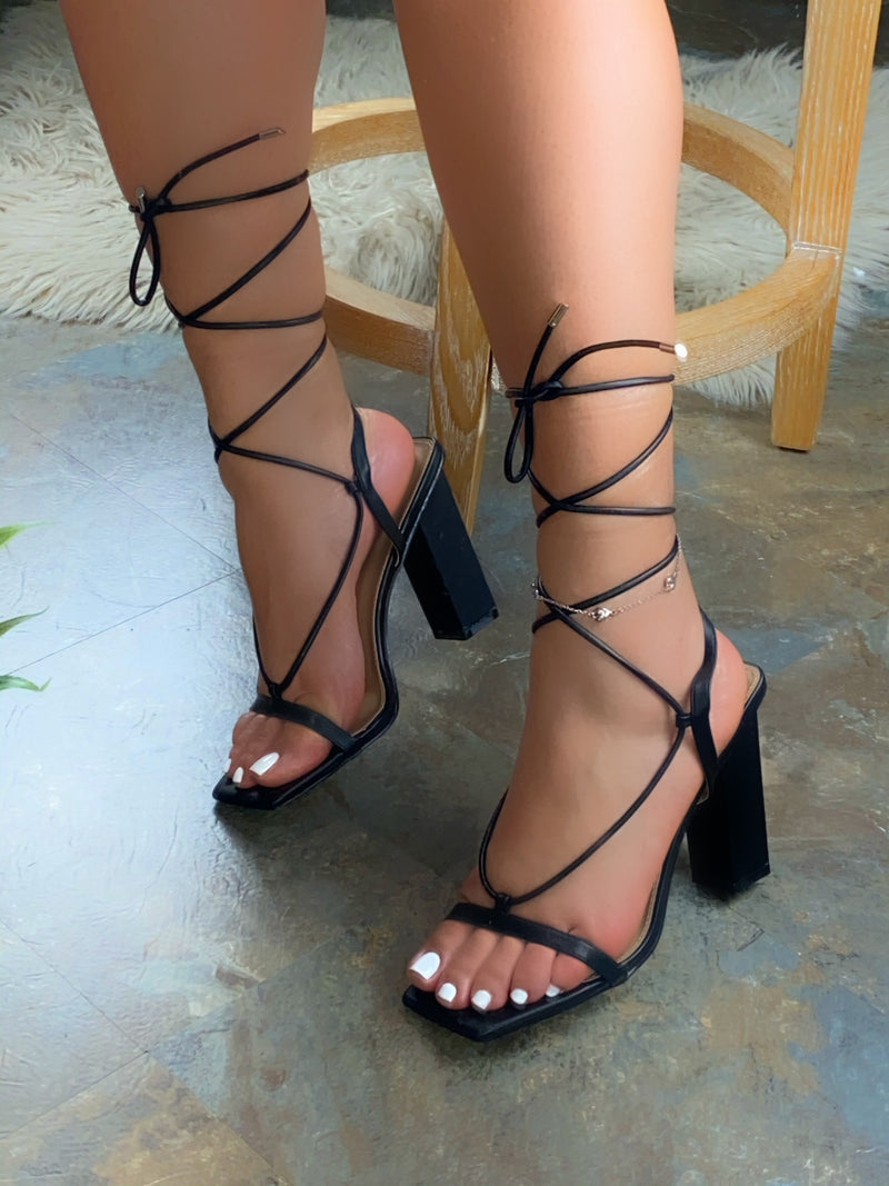 Naylie Lace-up Heels - Black