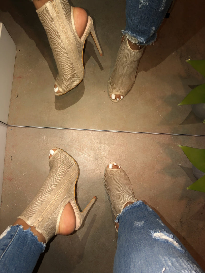 Pennie Open Toe Booties - Nude