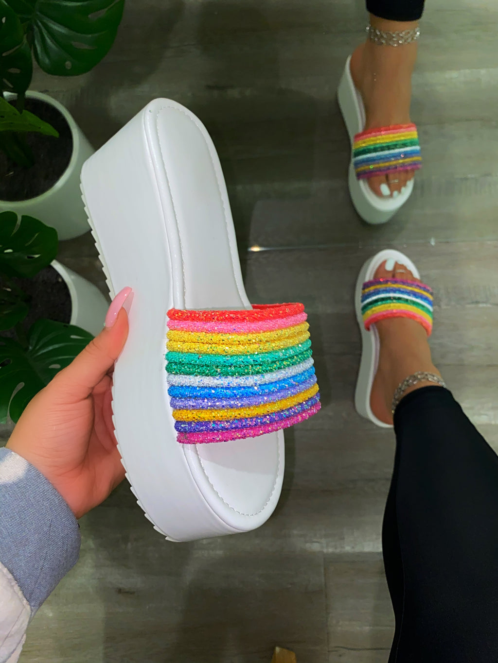 Dream Platform Sandals -White Rainbow