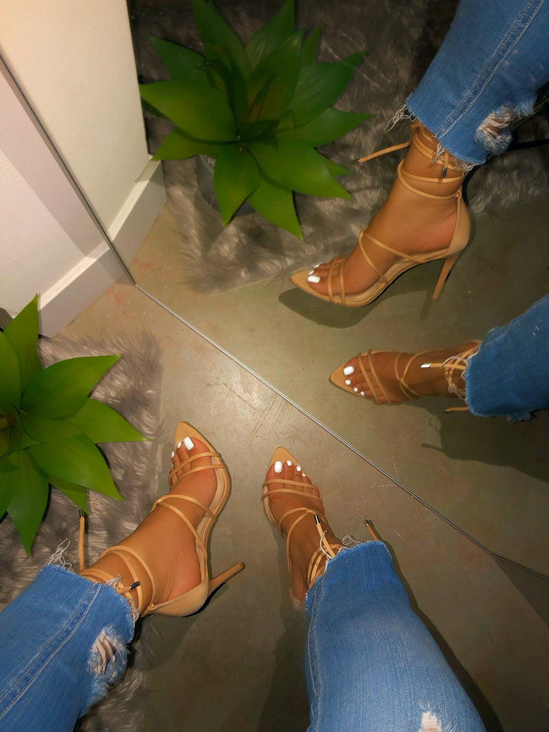 Thalia Lace Up Heels - Nude