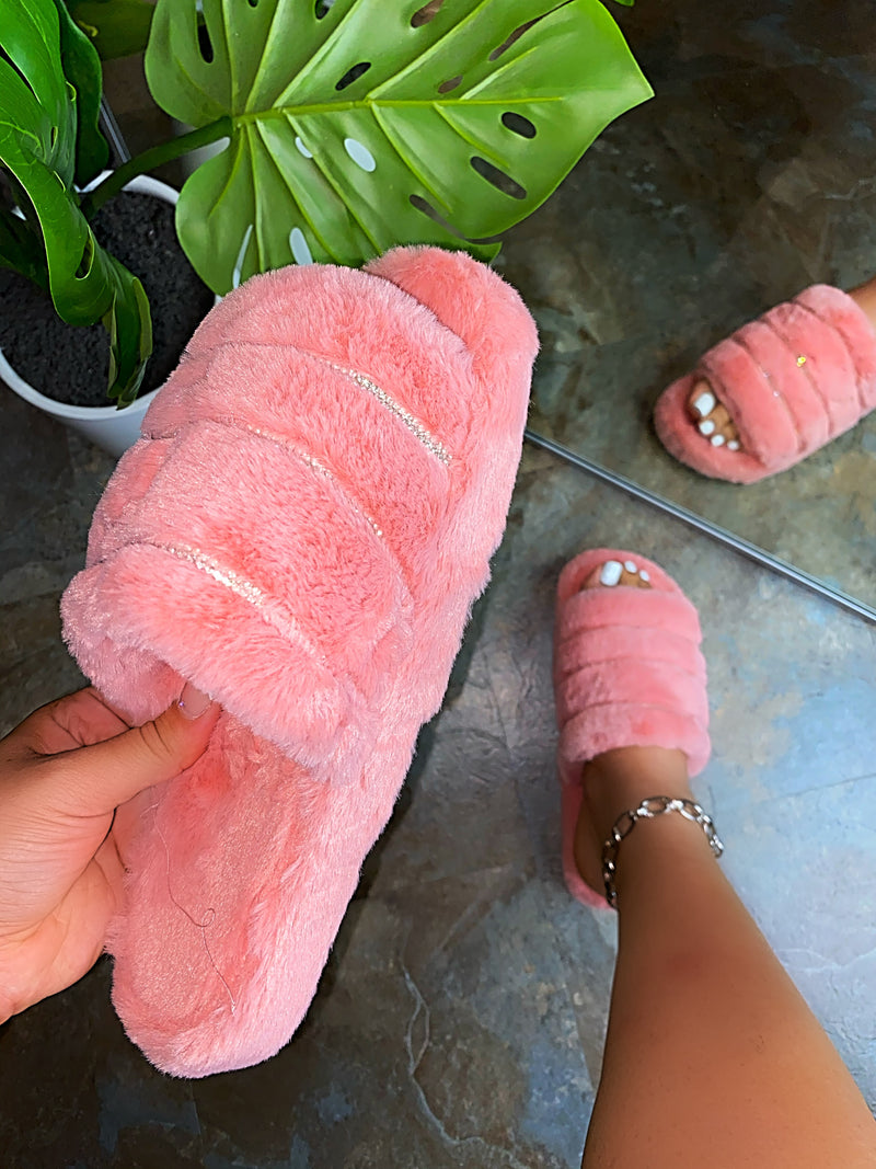 Charlotte Fluffy Slippers - Pink